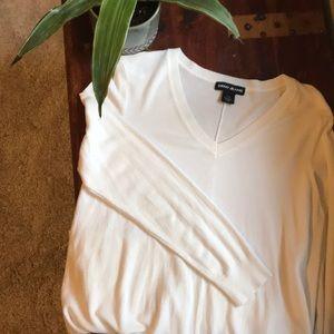 White tunic length sweater